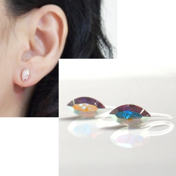 diamond shape marquise Aurora Borealis swarovski crystal invisible clip on earrings non pierced 2