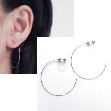 Large silver hoop invisible clip on earrings non pierced MiyabiGrace 5