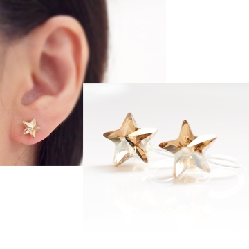 Shooting star golden shadow swarovski crystal invisible clip on earrings non pierced earrings3