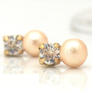 Totally invisible swarovski crystal light orange cotton pearl invisible clip on earrings1