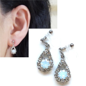 Dangle Rhinestone crystal and white opal crystal invisible clip on earrings 2