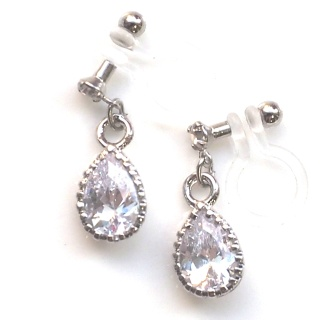 """<img src=""""bridal-wedding-dangle-tear-drop-silver-cubic-zirconia-cz-crystal-invisible-clip-on-earrings6.jpg"""" alt=""""pierced look and comfortable Pierced look and comfortable dangle wedding bridal cubic zirconia teardrop swarovski crystal invisible clip on earrings 耳環夾ノンホールピアス イヤリング""""/>"""
