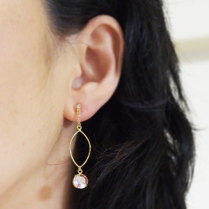 "<img src=""dangle-gold-hoop-and-aurora-borealis-invisible-clip-on-earrings-non-pierced.jpg"" alt=""pierced look and comfortable wedding bridal dangle gold hoop and Aurora Borealis Invisible Clip On Earrings non pierced non pierced earrings""/>"