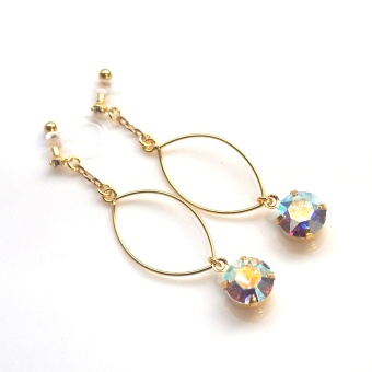 "<img src=""dangle-gold-hoop-and-aurora-borealis-invisible-clip-on-earrings-non-pierced6.jpg"" alt=""pierced look and comfortable wedding bridal dangle gold hoop and Aurora Borealis Invisible Clip On Earrings non pierced non pierced earrings""/>"