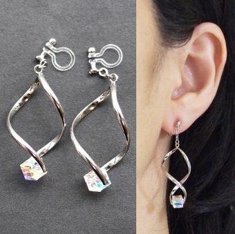 Swarovski Crystal Invisible Clip On Earrings for mother's day