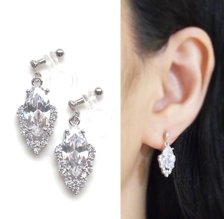 """<img src=""""cz-crystal-cubic-zirconia-diamond-wedding-invisible-clip-on-earrings8.jpg"""" alt=""""pierced look and comfortable wedding and bridal marquise shape diamond cubic zirconia cz crystal invisible clip on earrings""""/>"""