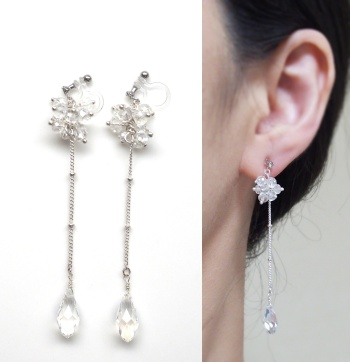 "<img src=""/dangle-long-silver-wedding-drop-crystal-invisible-clip-on-earrings2.jpg"" alt=""beaded crystal and silver chain drop invisible clip on earrings MiyabiGrace""/>"
