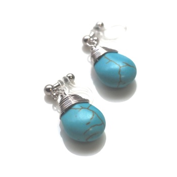 "<img src=""dangle-teardrop-wire-wrapped-pear-silver-turquoise-invisible-clip-on-earrings5.jpg"" alt=""pierced look and comfortable Pierced look and comfortable dangle blue turquoise teardrop gemstone invisible clip on earringss 耳環夾 ノンホールピアス""/>"