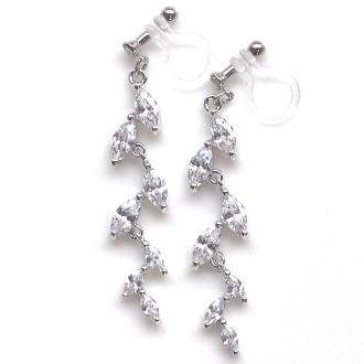"""<img src=""""wedding-leaf-cz-cubic-zirconia-crystal-invisible-clip-on-earrings7.jpg?w=495"""" alt=""""pierced look and comfortable comfortable pierced look dangle bridal cubic zirconia leaf invisible clip on earrings 夾耳環 ノンホールピアス""""/>"""