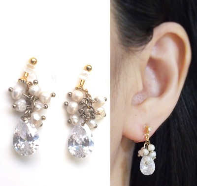 "<img src=""dangle-bridal-wedding-freshwater-pearl-natural-pearl-cubic-zirconia-cz-drop-invisible-clip-on-earrings2.jpg"" alt=""pierced look and comfortable Pierced look and comfortable bridal wedding freshwater pearl and cubic zirconia invisible clip on earrings 耳環夾 ノンホールピアス""/>"