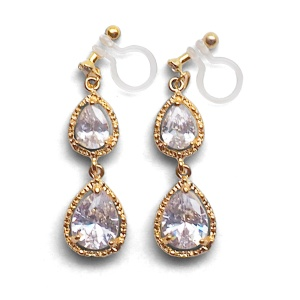 "<img src=""bridal-wedding-comfortable-pierced-look-dangle-gold-double-teardrop-cubic-zirconia-cz-crystal-invisible-clip-on-earrings-miyabigrace-e5a4bee880b3e792b0-e5a4bee5bc8fe880b3e792b0.jpg"" alt=""pierced look and comfortable Comfortable and pierced look bridal wedding dangle gold teardrop chandelier cubic zirconia cz crystal invisible clip on earrings bridal jewelry by MiyabiGrace 耳環夾 ノンホールピアス 夾式耳環""/>"