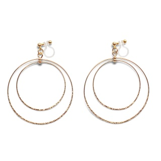 Comfortable pierced look dangle shiny rotatable textured gold double circle hoop invisible clip on earrings MiyabiGrace 夾耳環 夾式耳環 イヤリング3.jpg