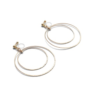 Comfortable pierced look dangle shiny rotatable textured gold double circle hoop invisible clip on earrings MiyabiGrace 夾耳環 夾式耳環 イヤリング5.jpg