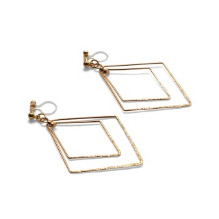 Comfortable pierced look dangle shiny rotatable textured gold double square diamond hoop invisible clip on earrings MiyabiGrace 夾耳環 夾式耳環 イヤリング5.jpg