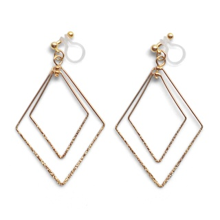 Comfortable pierced look dangle shiny rotatable textured gold double square diamond hoop invisible clip on earrings MiyabiGrace 夾耳環 夾式耳環 イヤリング3.jpg