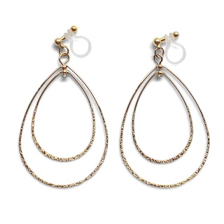 Comfortable pierced look dangle shiny rotatable textured gold double teardrop hoop invisible clip on earrings MiyabiGrace 夾耳環 夾式耳環 イヤリング3.jpg