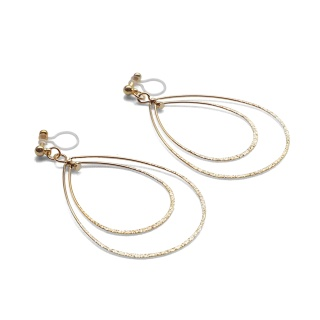 Comfortable pierced look dangle shiny rotatable textured gold double teardrop hoop invisible clip on earrings MiyabiGrace 夾耳環 夾式耳環 イヤリング5.jpg