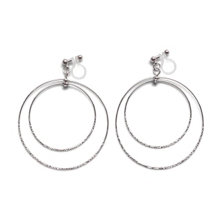 Comfortable pierced look dangle shiny rotatable textured silver double circle hoop invisible clip on earrings MiyabiGrace 夾耳環 夾式耳環 イヤリング3.jpg
