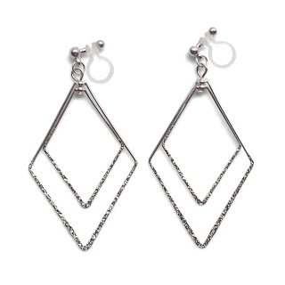 Comfortable pierced look dangle shiny rotatable textured silver double square diamond hoop invisible clip on earrings MiyabiGrace 夾耳環 夾式耳環 イヤリング3.jpg