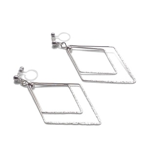 Comfortable pierced look dangle shiny rotatable textured silver double square diamond hoop invisible clip on earrings MiyabiGrace 夾耳環 夾式耳環 イヤリング5.jpg