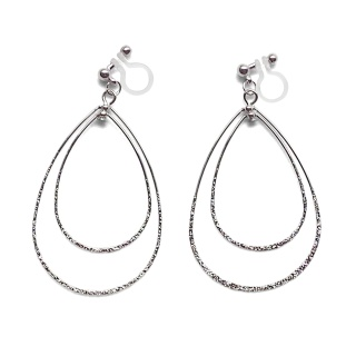 Comfortable pierced look dangle shiny rotatable textured silver double teardrop hoop invisible clip on earrings MiyabiGrace 夾耳環 夾式耳環 イヤリング3.jpg