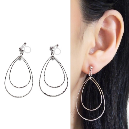 Comfortable pierced look dangle shiny rotatable textured silver double teardrop hoop invisible clip on earrings MiyabiGrace 夾耳環 夾式耳環 イヤリング7.jpg