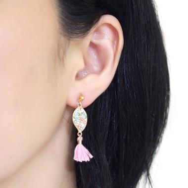 "<img src=""pierced-look-comfortable-dangle-gold-leaf-pink-rhinestone-pink-tassel-boho-bohemian-invisible-clip-on-earrings-miyabigrace-e5a4bee880b3e792b0-e5a4bee5bc8fe880b3e792b0-e382a"" alt=""pierced look and comfortable Comfortable and pierced look pink tassel with crystal invisible clip on earrings bridal jewelry by MiyabiGrace 耳環夾 ノンホールピアス 夾式耳環""/>"