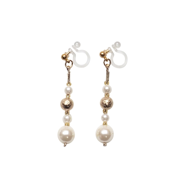 Comfortable gold ball white pearl dangle invisible clip on earrings   (1).jpg