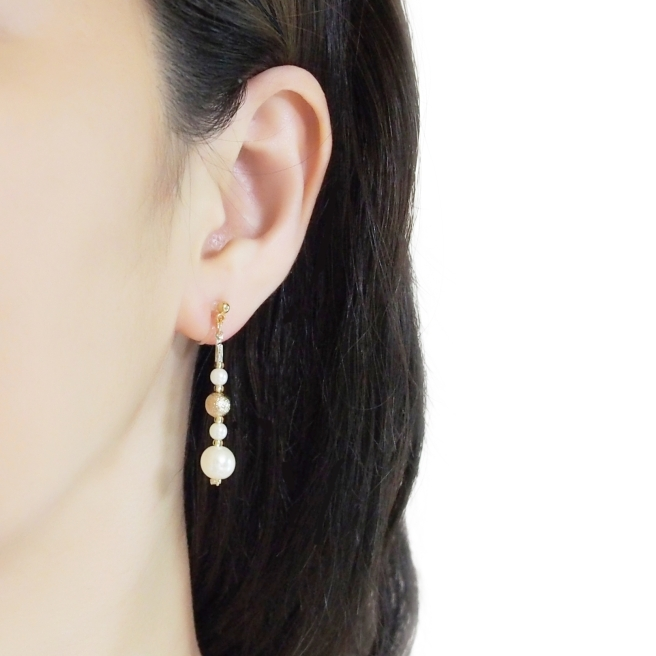 Comfortable gold ball white pearl dangle invisible clip on earrings    (6).JPG