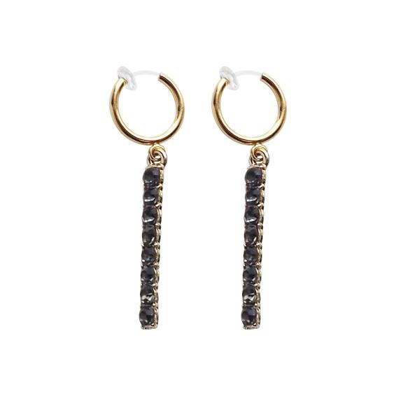 Comfortable pierced look black crystal rhinestone bar clip on earrings (1 (3).jpg