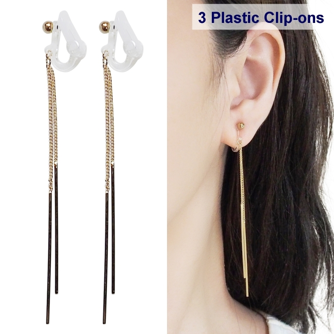 comfortable pierced look dangle gold stick plastic clip on earrings Miyabi Grace 5.jpg