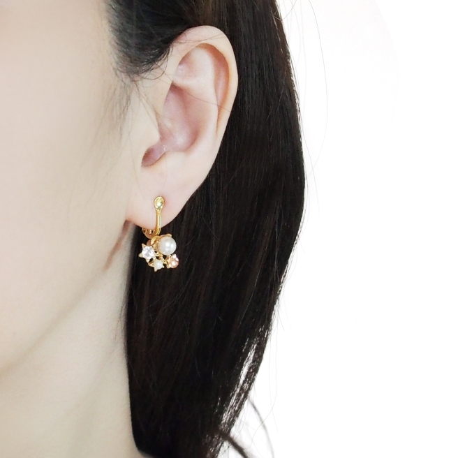 Comfortable pierced look gold clip on earrings converters Miyabi Grace 1.jpg
