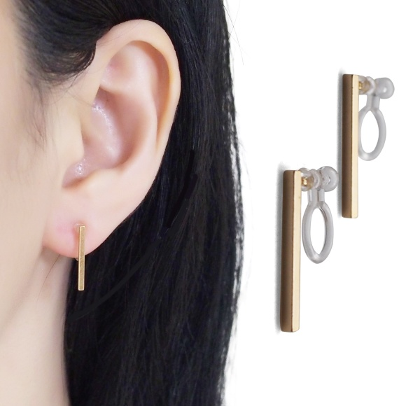Comfortable pierced look Japanese gold short bar minimalist minimal simple invisible clip on stud earrings MiyabiGrace 14.jpg