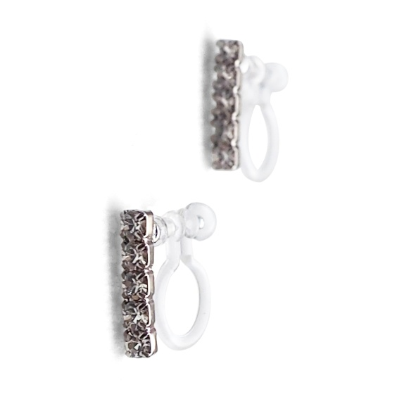 Comfortable pierced look Japanese silver crystal rhinestone bar minimal simple invisible clip on stud earrings MiyabiGrace イヤリング14.jpg