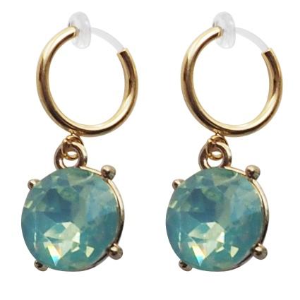 Comfortable pierced look mint green crystal rhinestone glasses resin clip on .jpg