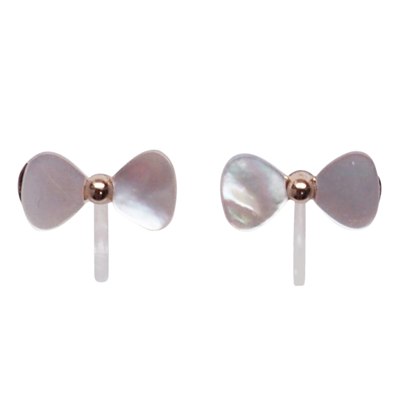 Comfortable-pierced-look-Rose-Gold-Bow-Tie-Ribbons-White-Mother-of-Pearl-Shell-Invisible-clip-on-stud-earrings-Miyabi-Grace 3.jpg