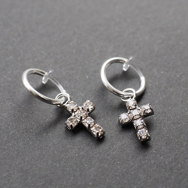 Comfortable pierced look silver rhinestone crystal cross resin plastic clip on hoop earrings MiyabiGrace (2).JPG