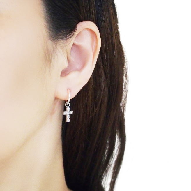 Comfortable pierced look silver rhinestone crystal cross resin plastic clip on hoop earrings MiyabiGrace (3).jpg