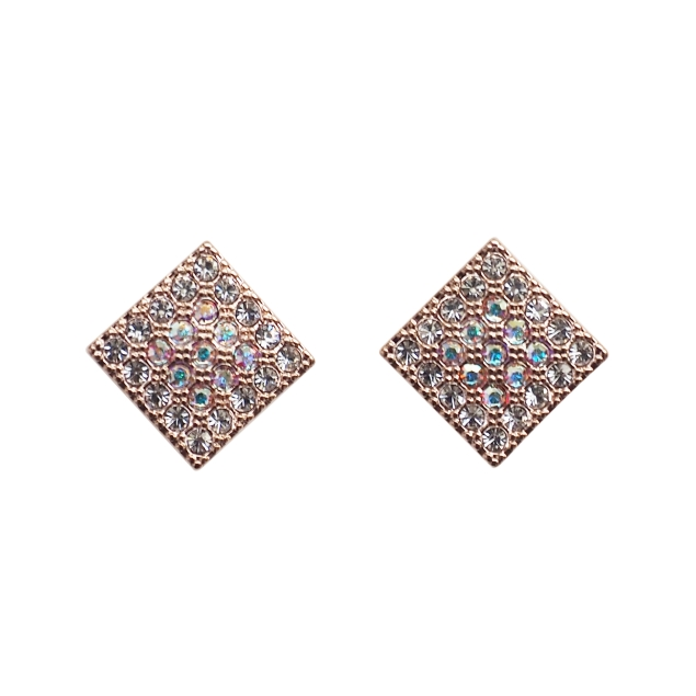 Comfortable pierced look Square Rose Gold Pave Swarovski Rhinestone Crystal  Invisible clip on stud earrings Miyabi Grace 5.jpg