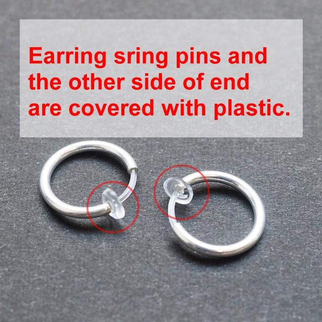 Comfortable small silver plastic resin hypoallergenic clip on hoops earrings Miyabi Grace1.JPG