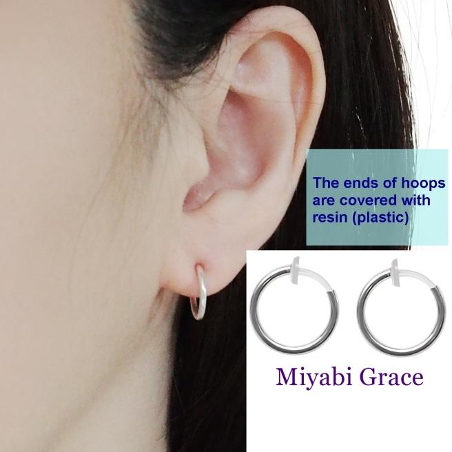 Comfortable small silver plastic resin hypoallergenic clip on hoops earrings Miyabi Grace4.jpg