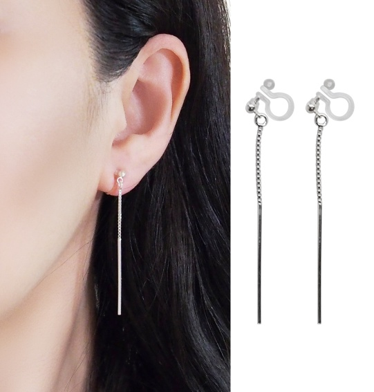 Comfortable pierced look chain bar dangle sterling silver invisible clip on earrings Miyabi Grace 6.jpg
