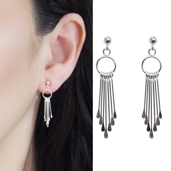 Comfortable pierced look chain bar fringe hoop dangle sterling silver invisible clip on earrings Miyabi Grace 6.jpg