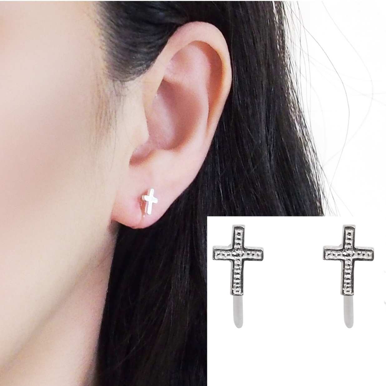 Comfortable pierced look Cross sterling silver invisible clip on earrings Miyabi Grace 5.jpg