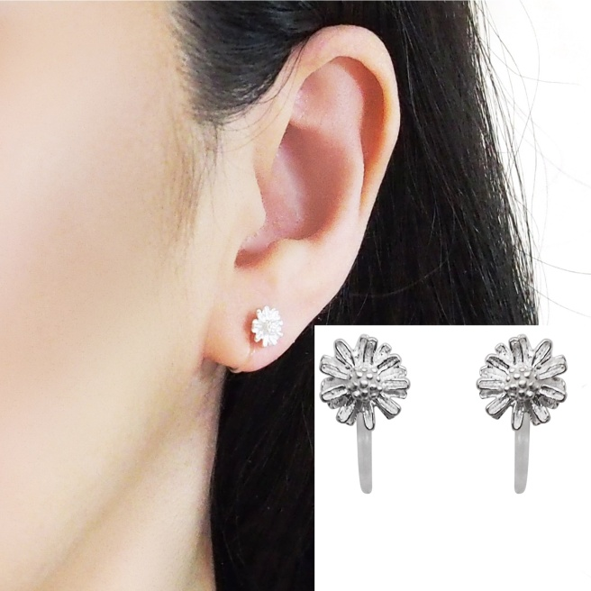 Comfortable pierced look Flower sterling silver invisible clip on earrings Miyabi Grace 5.jpg