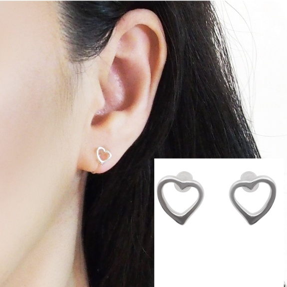 Comfortable pierced look heart sterling silver invisible clip on earrings Miyabi Grace 5.jpg