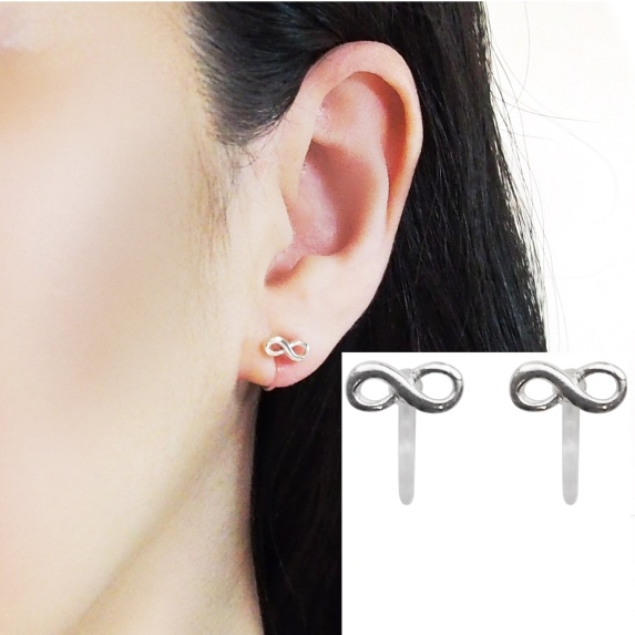 Comfortable pierced look Infinite sterling silver invisible clip on earrings Miyabi Grace 5.jpg