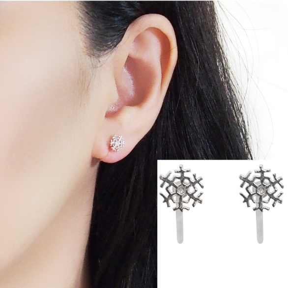 Comfortable pierced look Snow sterling silver invisible clip on earrings Miyabi Grace 5.jpg