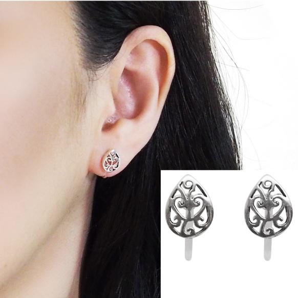 Comfortable pierced look Teardrop filigree sterling silver invisible clip on earrings Miyabi Grace 5.jpg