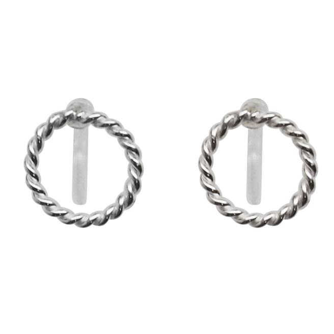 Comfortable pierced look Textured Hoop 925 sterling silver invisible clip on earrings Miyabi Grace 3.jpg